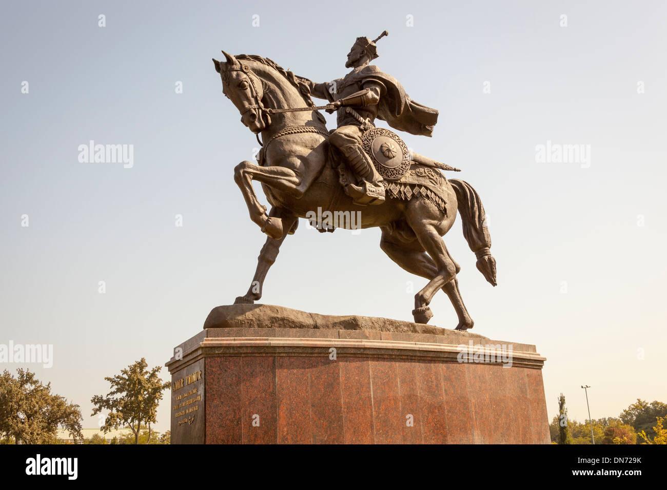 Statue of Amir Timur, also known as Temur and Tamerlane, Tashkent, Uzbekistan Stock Photo