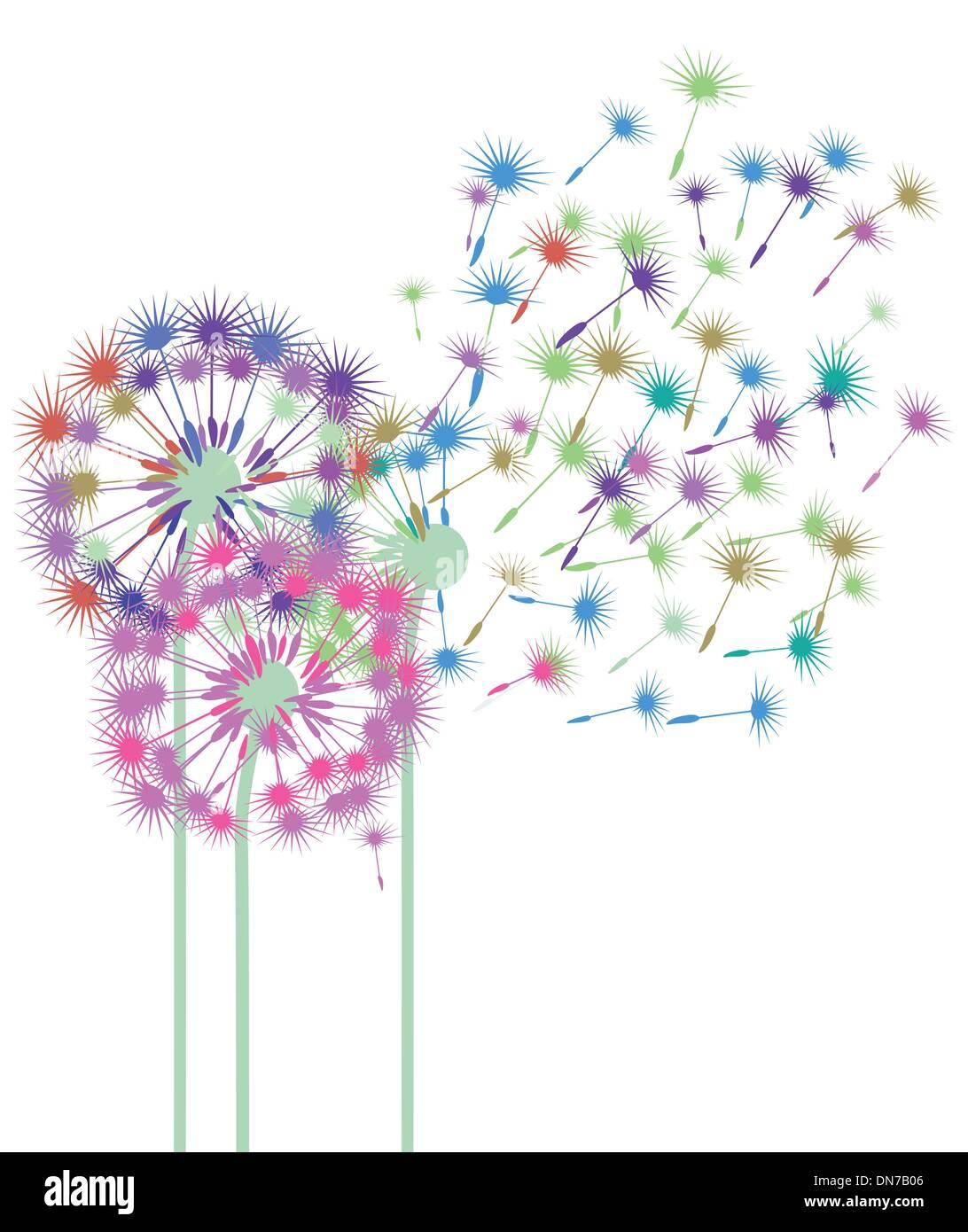 colorful dandelions - Stock Vector