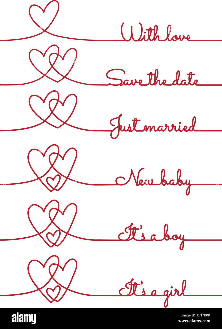 heart line drawing with text for cards, vector - Stock Image
