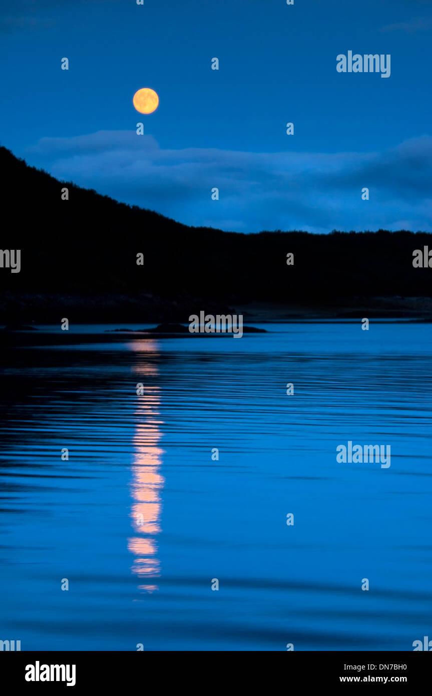 Geographic bay, Katmai national park, Alaska, USA,  at night with moonlight. - Stock Image