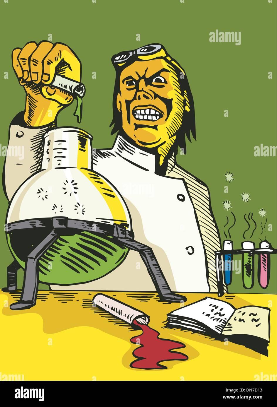 Scientist Lab Researcher Chemist Retro - Stock Vector