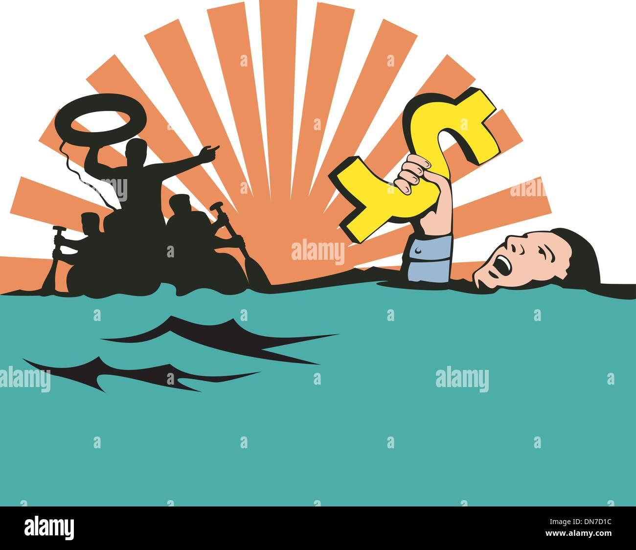 Man Sinking Dollar Sign - Stock Vector