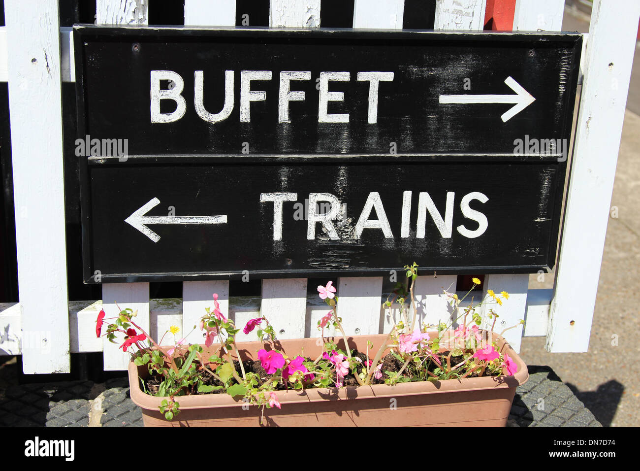 A sign at Colne Valley Railway . - Stock Image