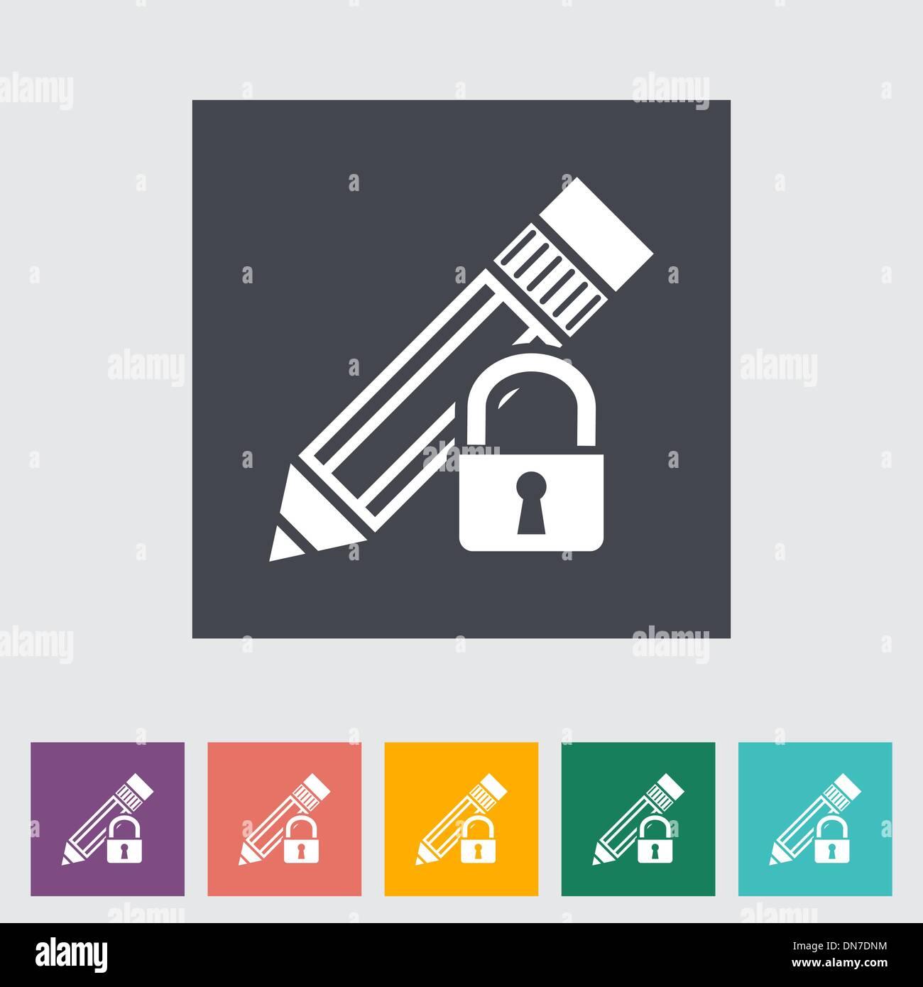 Lock for editing single flat icon. - Stock Image