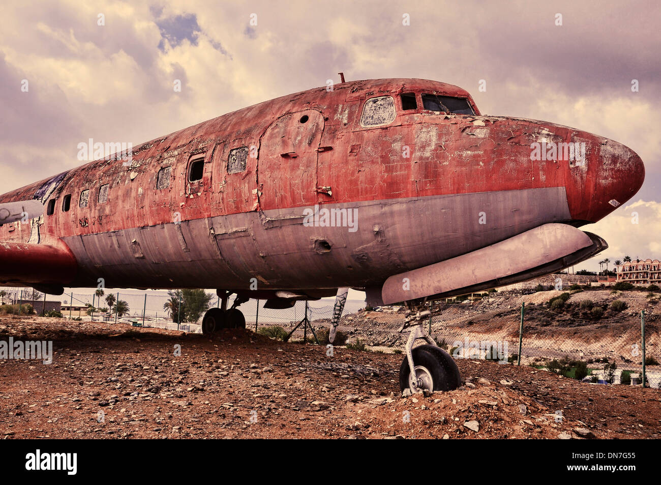 picture of an old and ramshackle airplane withdrawn from circulation - Stock Image