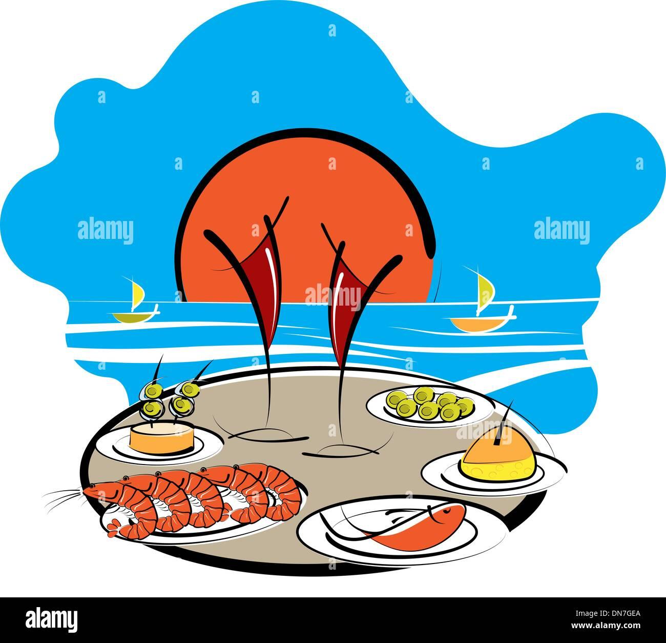 Spanish food at the seaside Spanish food - Stock Vector