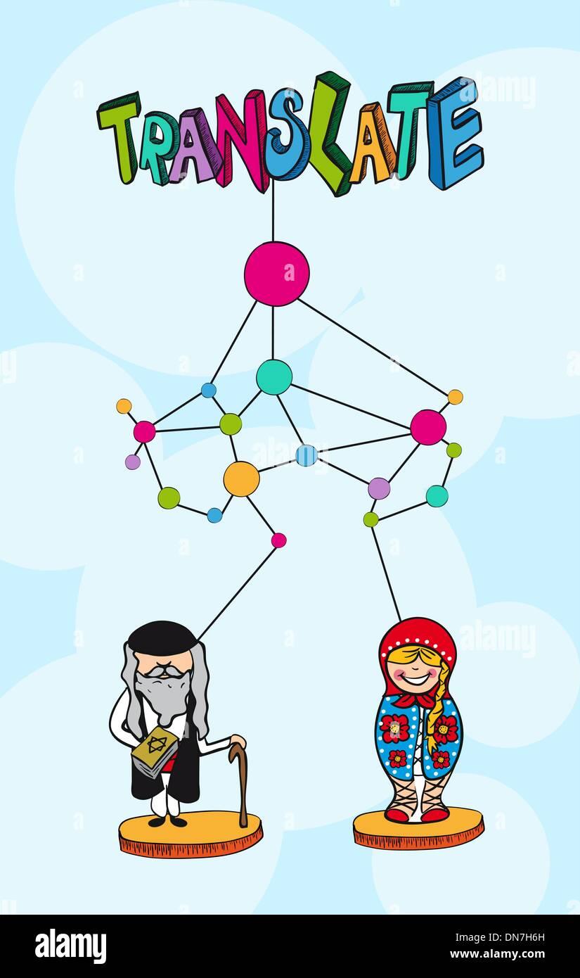 Translation net concept. Hebrew russian people cartoon. - Stock Vector