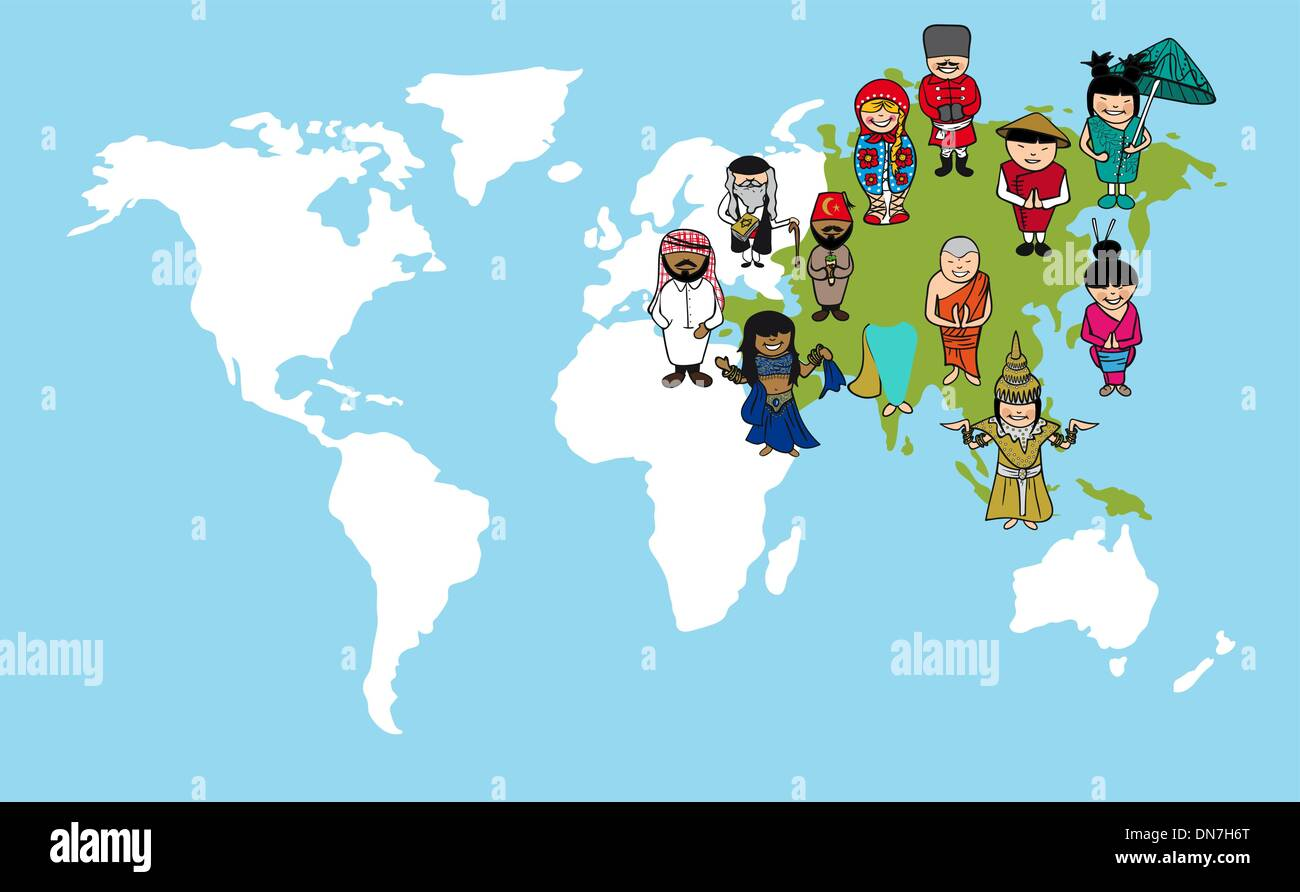 Asian people cartoons world map diversity illustration stock vector asian people cartoons world map diversity illustration gumiabroncs Images