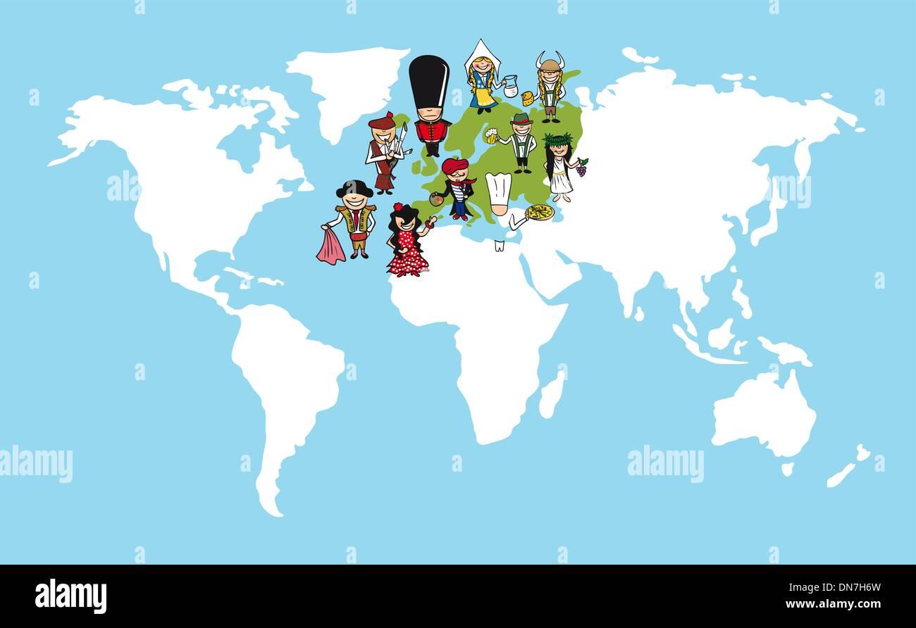 Europe people cartoons world map diversity illustration stock vector europe people cartoons world map diversity illustration gumiabroncs Images