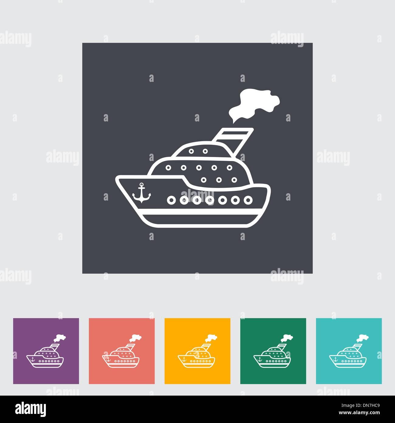 Ship flat icon. - Stock Vector