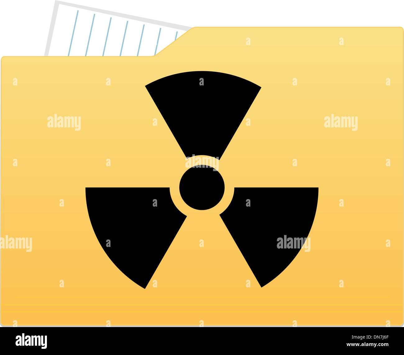 File folder with radiation sign - Stock Image