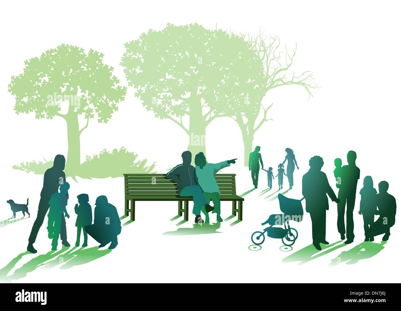 Families and seniors in the park - Stock Vector