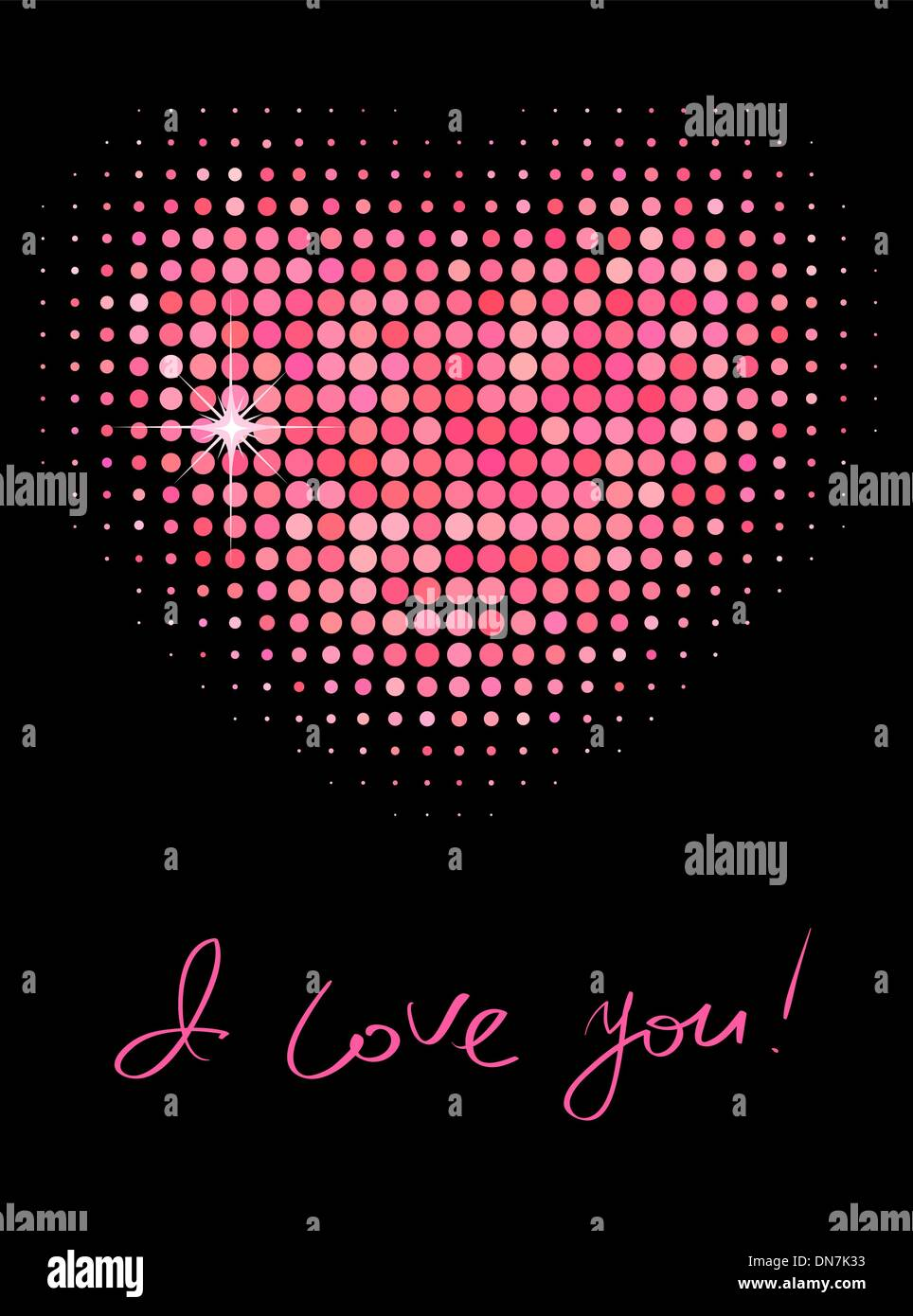 Pink color halftone heart shape - Stock Image