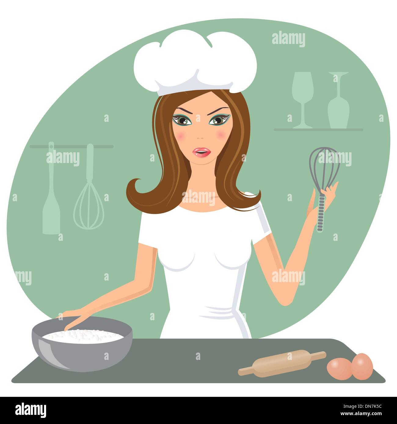 A happy very busy multitasking housewife - Stock Image