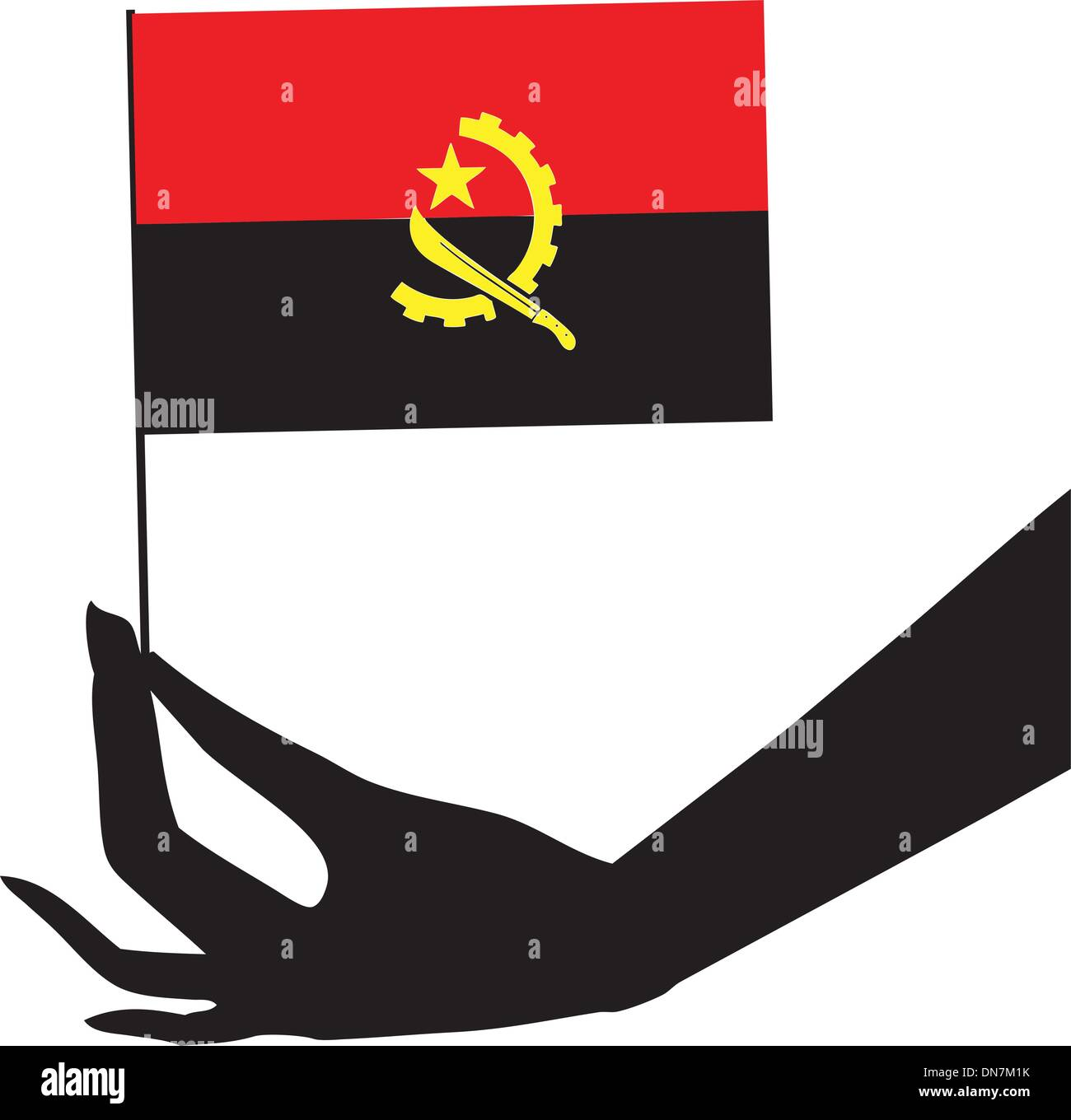 Angola flag in his hand - Stock Vector
