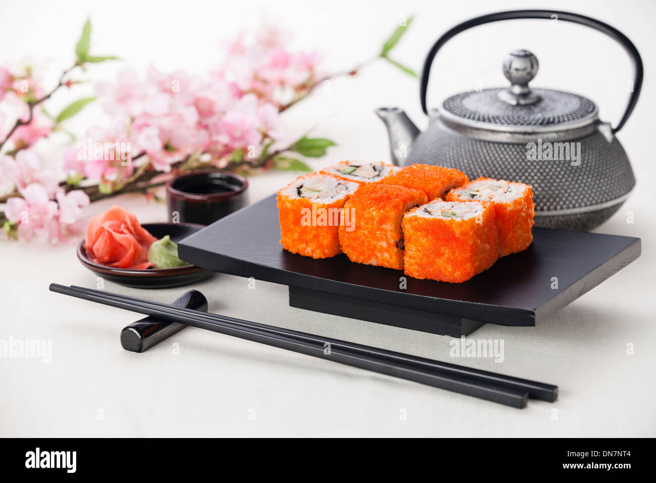 California Maki Sushi with soy sauce and ginger - Stock Image