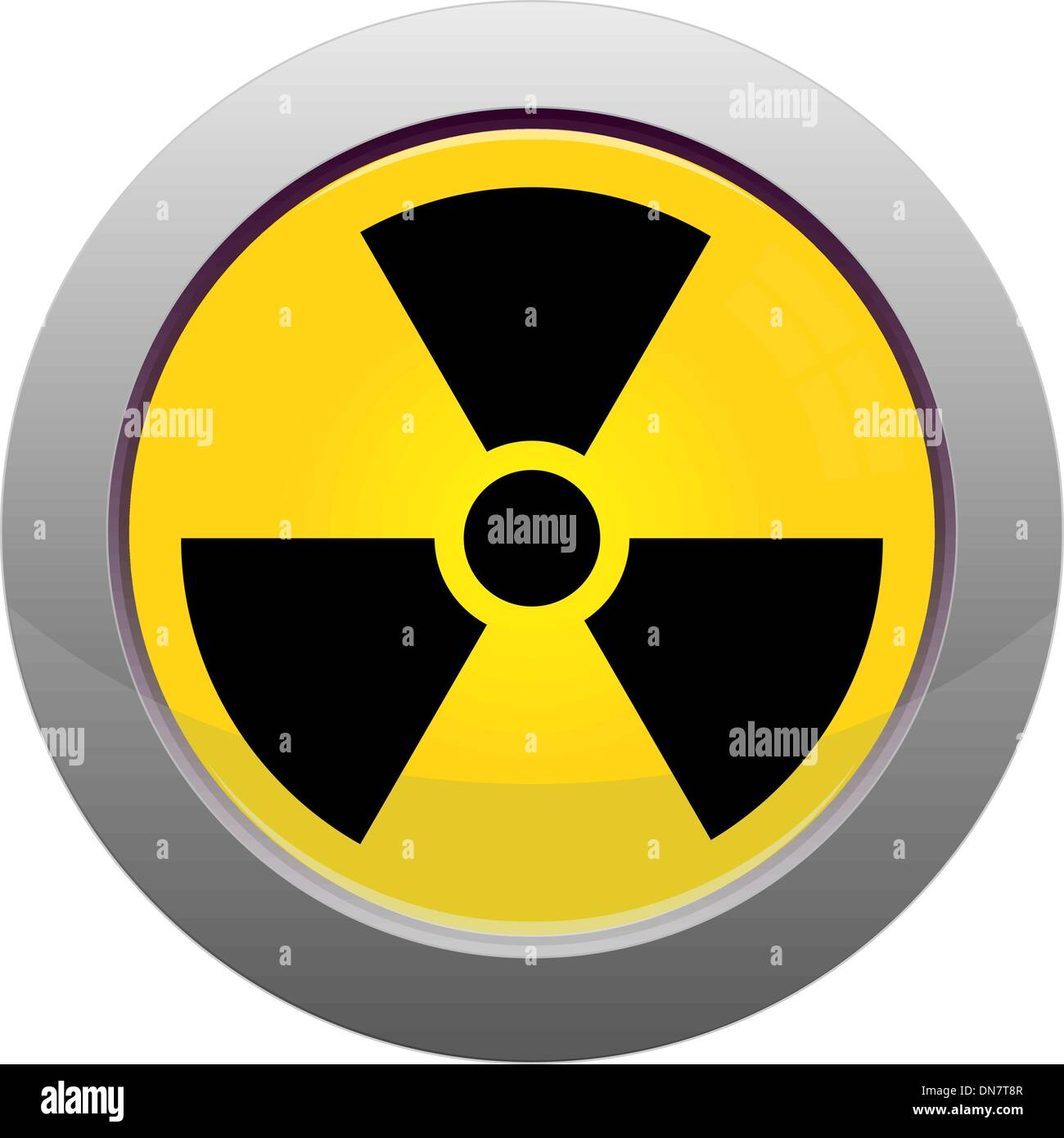 Button with radiation sign - Stock Vector