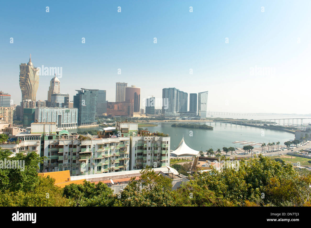 Daytime skyline with casinos seen from Penha hill at Macau (Macao), SAR of China - Stock Image