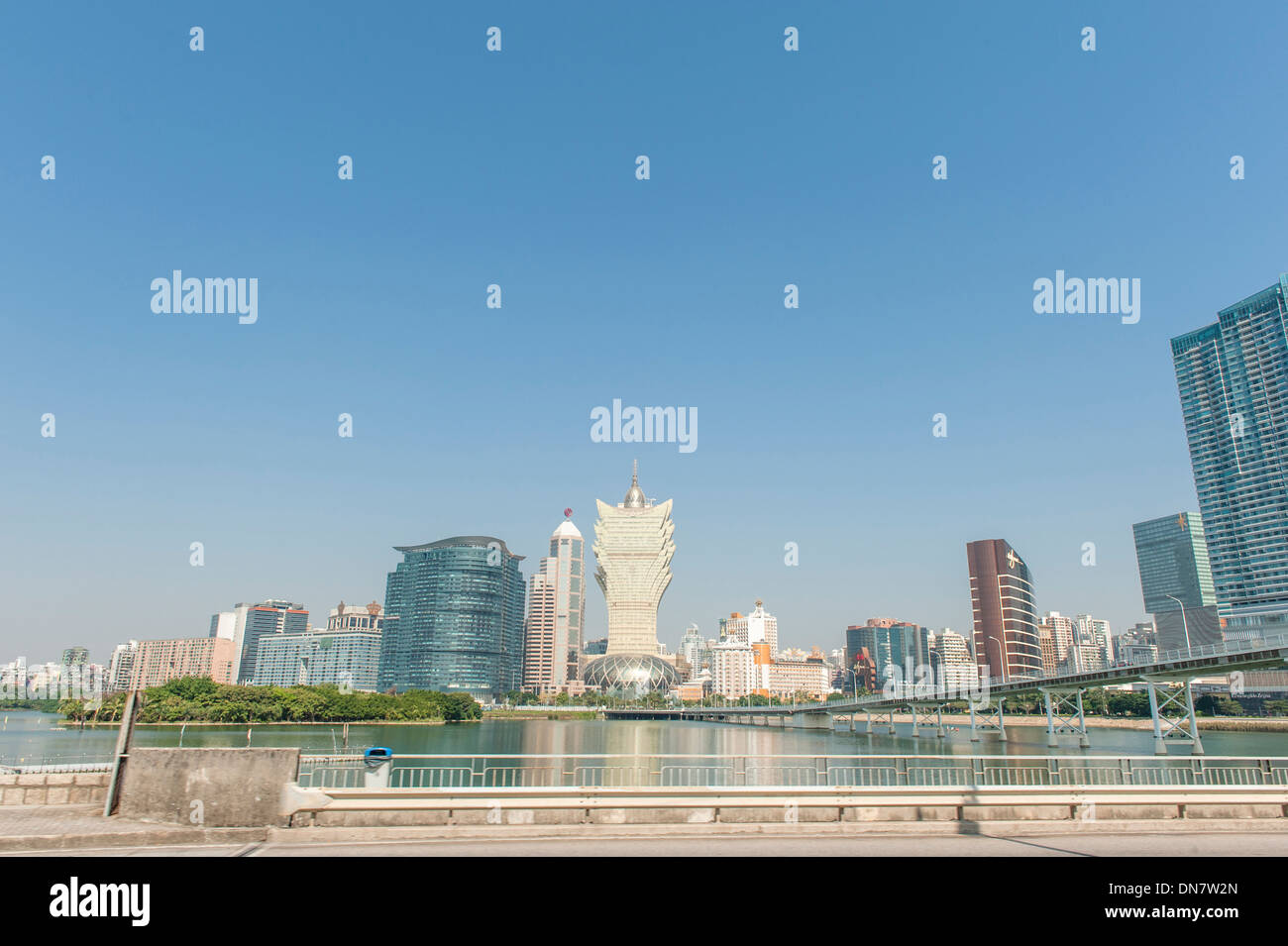 The casinos at Cotai strip, with the landmark buidling of Grand Lisboa at Macao (Macau), SAR of China - Stock Image