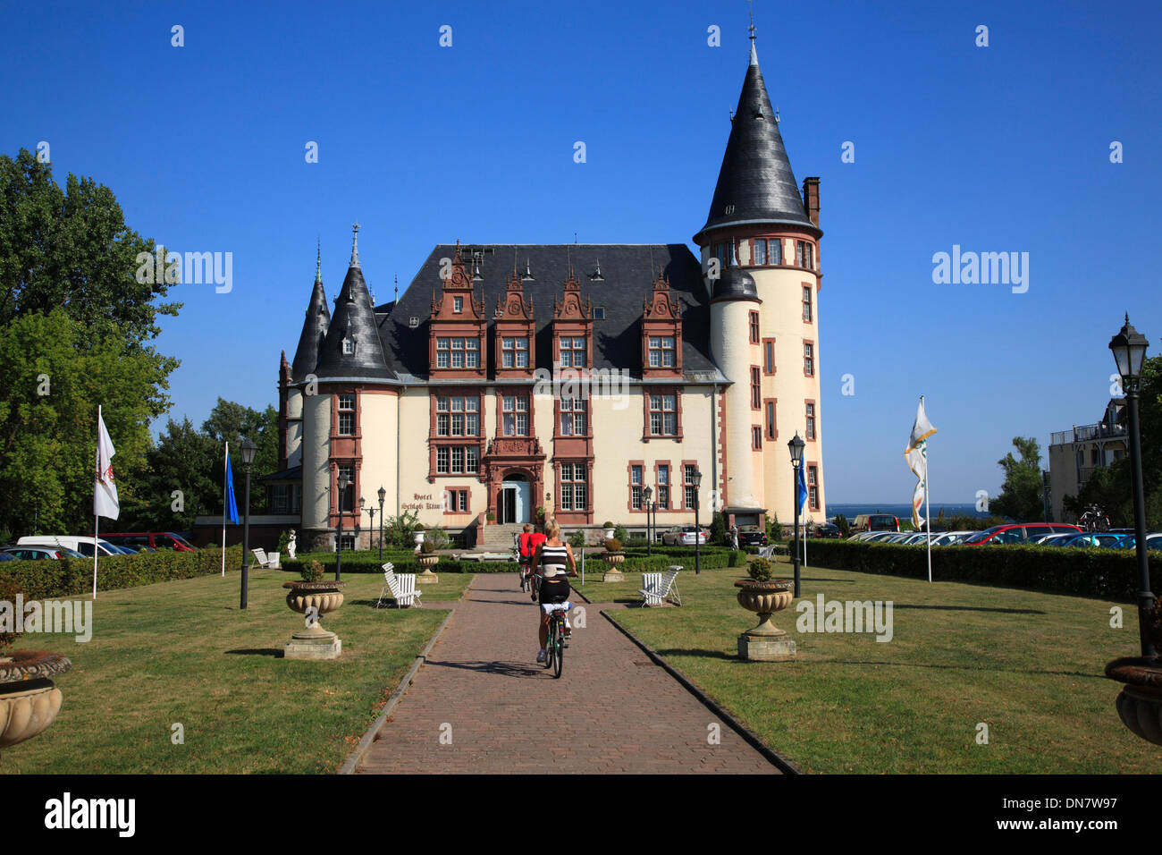 Klink Castle near  Waren, Lake  Mueritz, Mecklenburg Lakes, Mecklenburg Western Pomerania, Germany, Europe - Stock Image