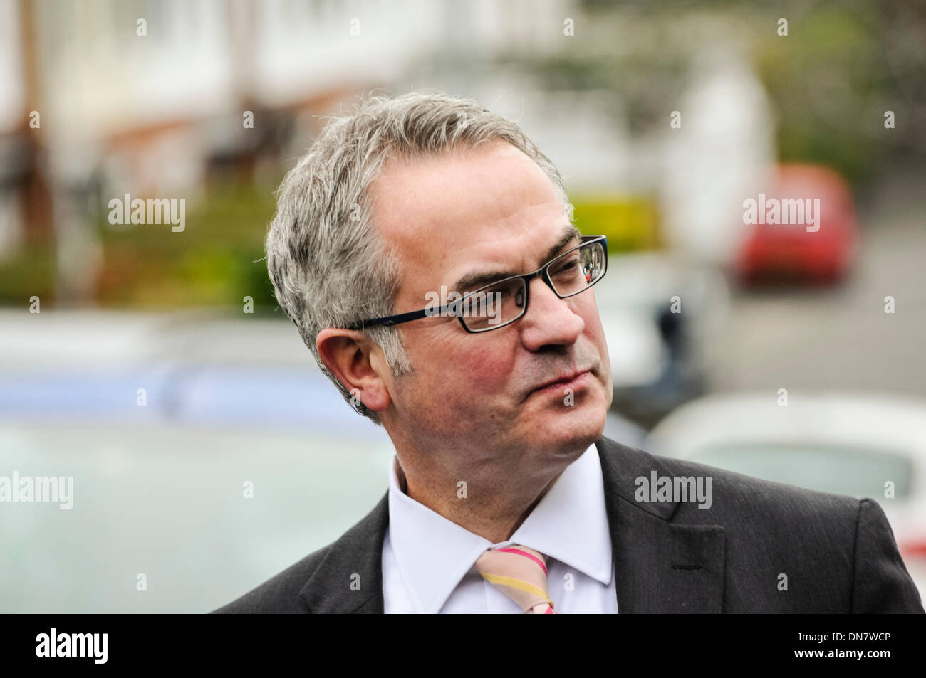Belfast, Northern Ireland. 19 Dec 2013 - Alex Attwood from the SDLP arrives for the Haass talks over the Northern Ireland issues for the future. Credit:  Stephen Barnes/Alamy Live News - Stock Image