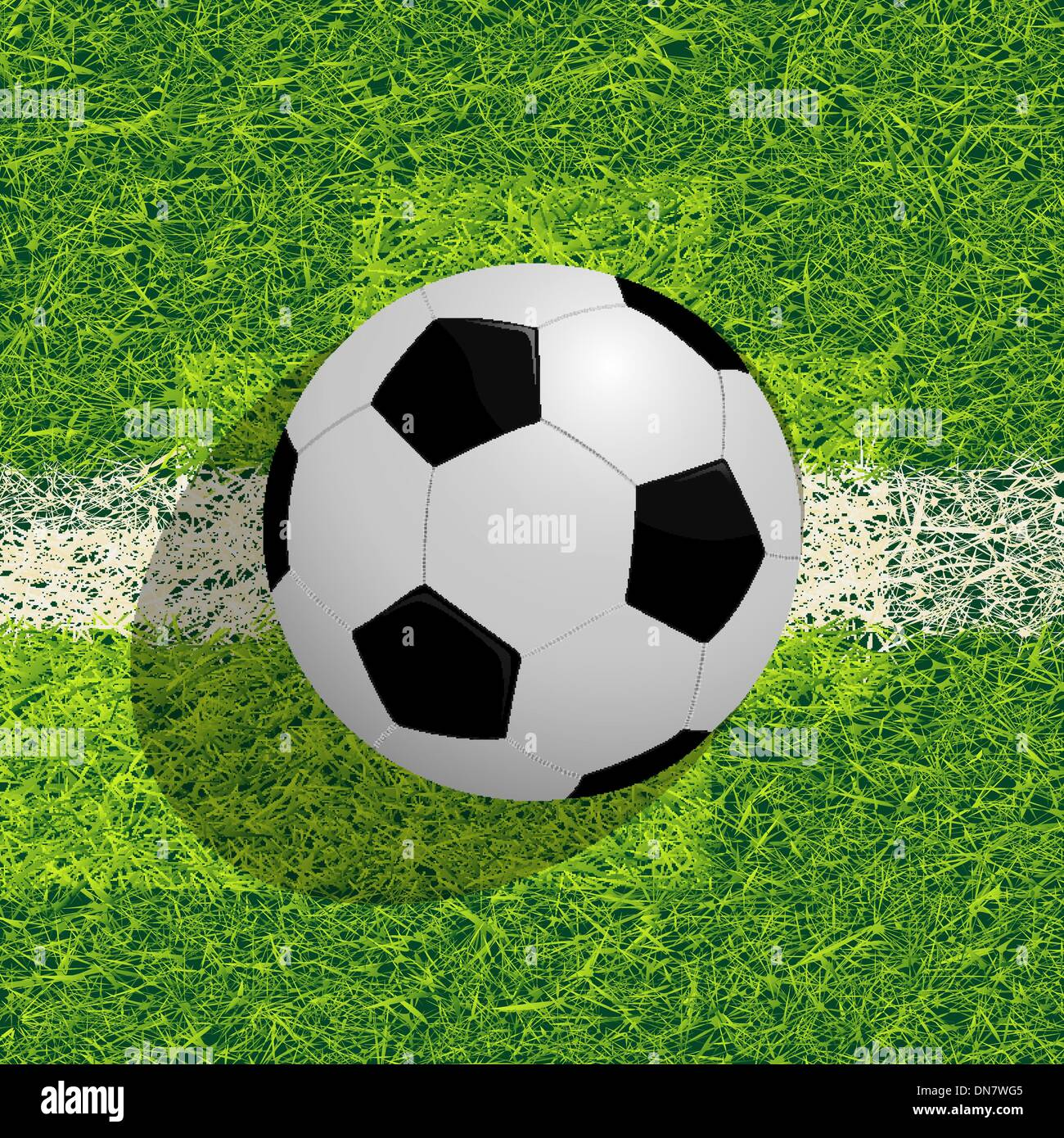 Soocer ball on the field - Stock Image