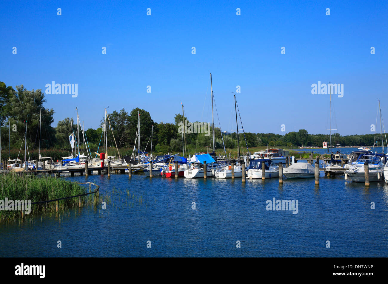 Marina at Castle Klink near  Waren, Lake  Mueritz, Mecklenburg Lakes, Mecklenburg Western Pomerania, Germany, Europe - Stock Image