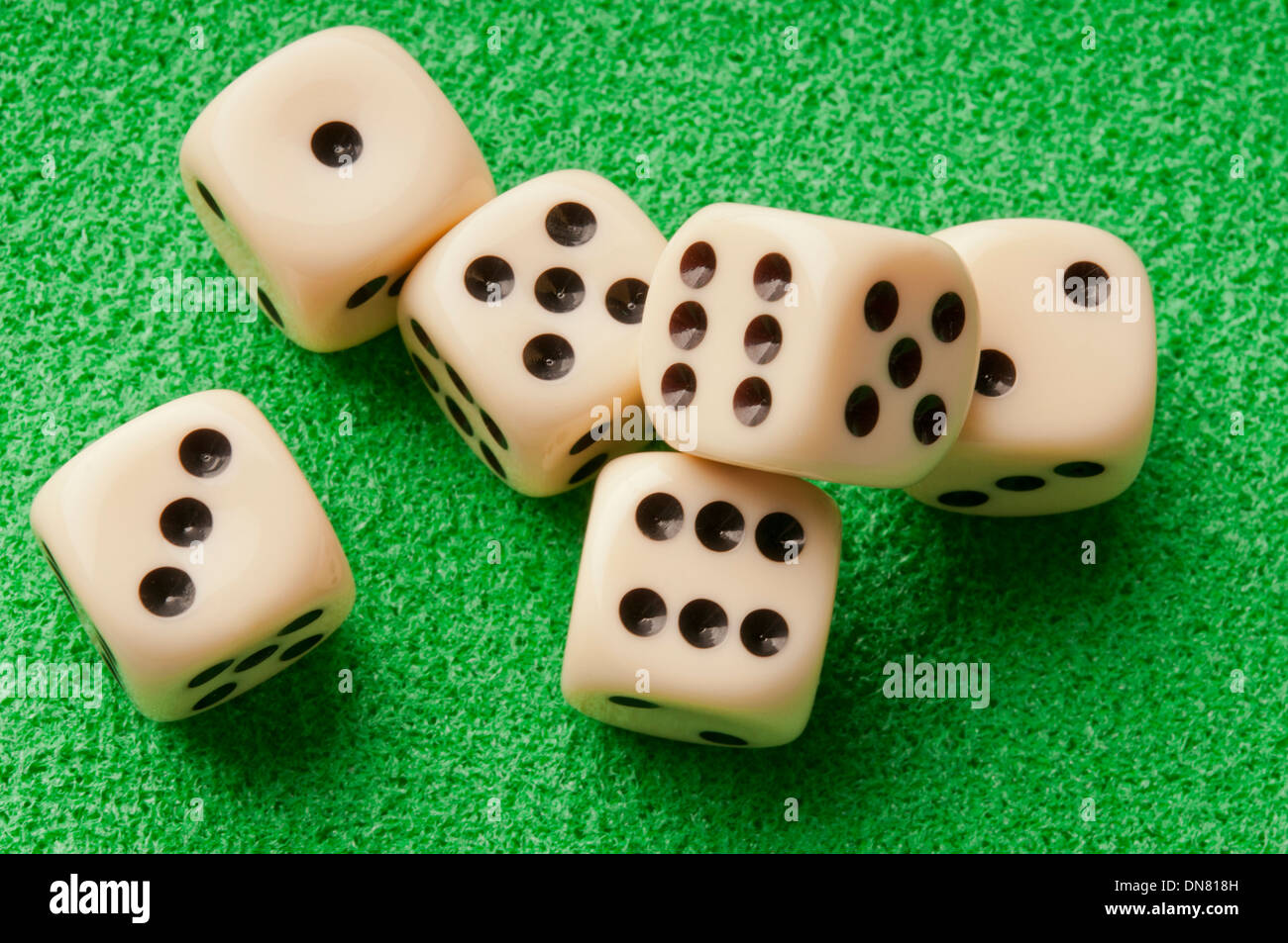 six dice - Stock Image