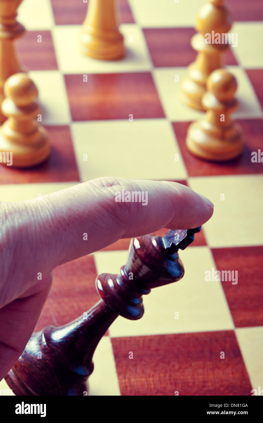 resigning a chess game - Stock Image