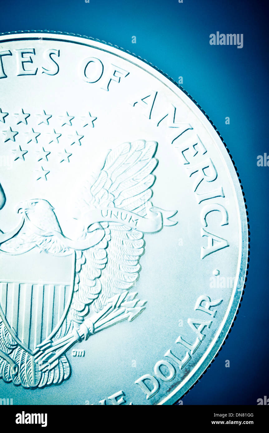 American one dollar silver coin - Stock Image