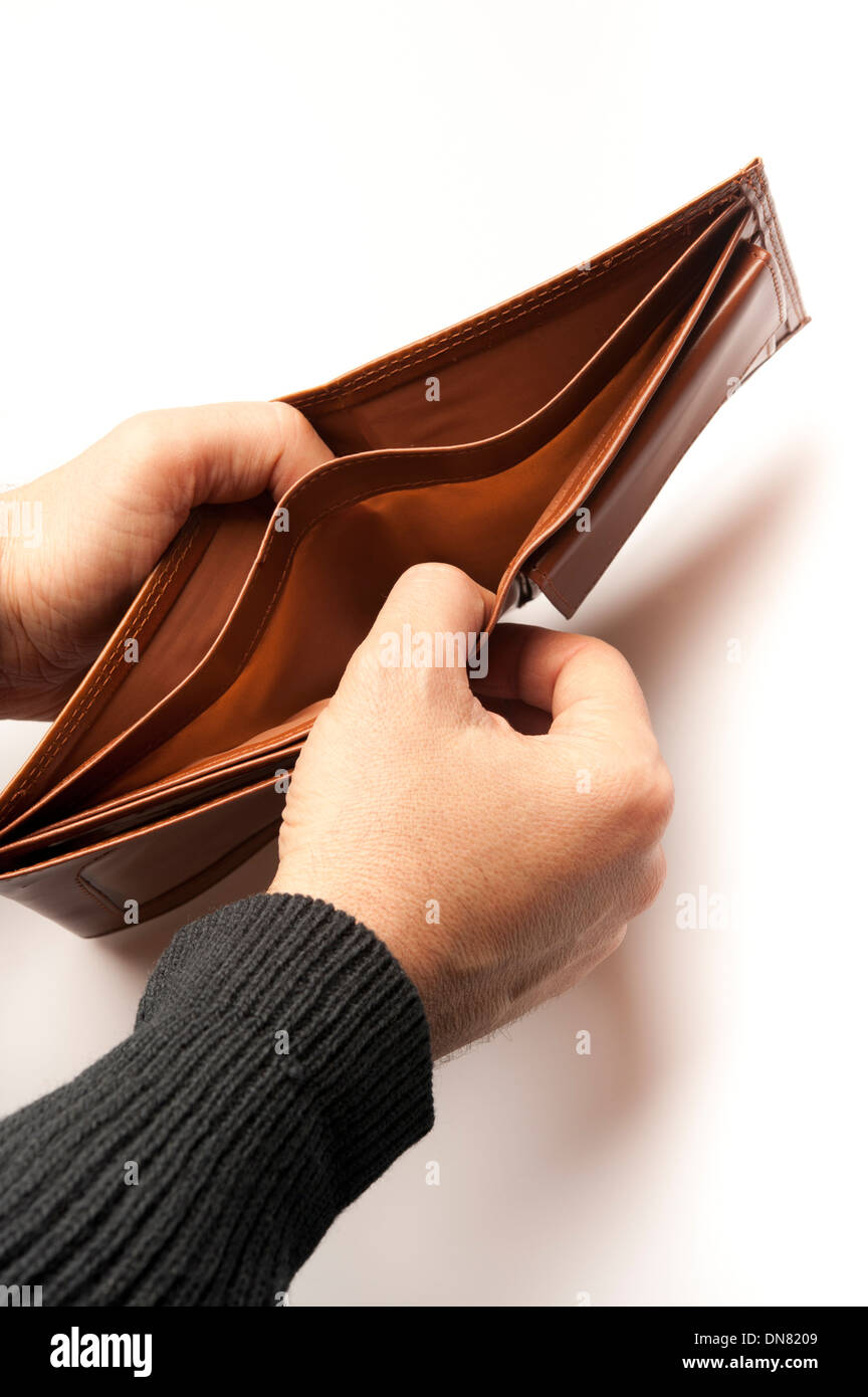 man showing an empty wallet Stock Photo
