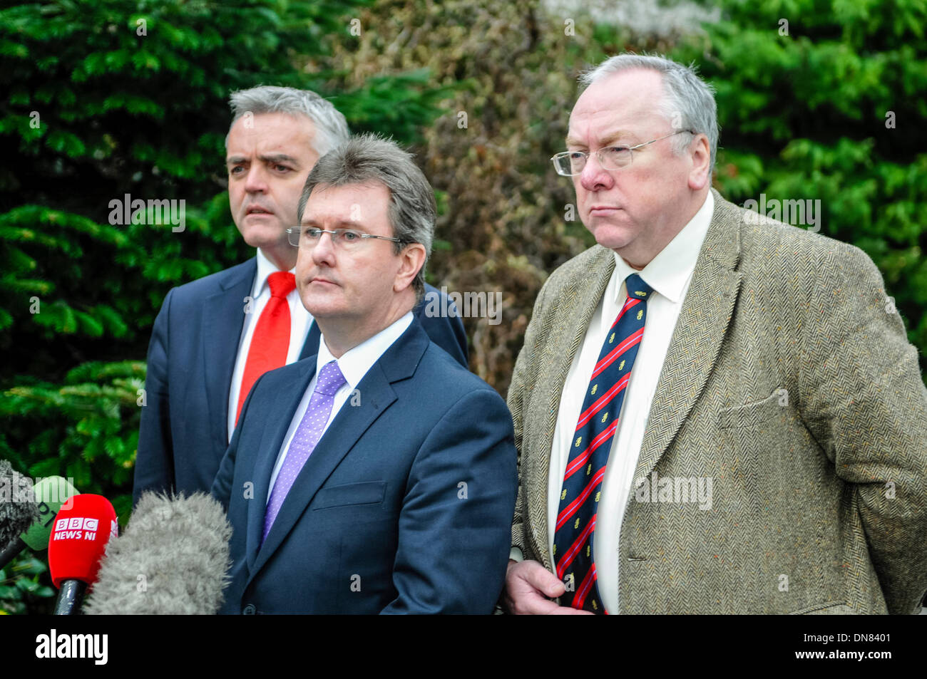 Belfast, Northern Ireland. 20 Dec 2013 - Jonathan Bell, Jeffrey Donaldson and Mervyn Gibson arrive to represent the DUP at the Haass talks over the Northern Ireland issues for the future. Credit:  Stephen Barnes/Alamy Live News - Stock Image