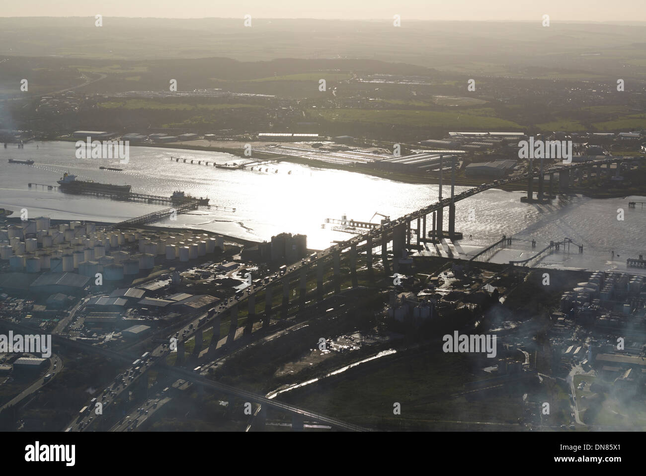 Dartford Crossing and the river Thames, London, South East England, UK - Stock Image