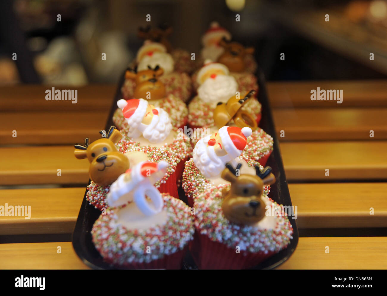 Christmas Themed Festive Cupcakes In Greggs The Bakers Shop Window