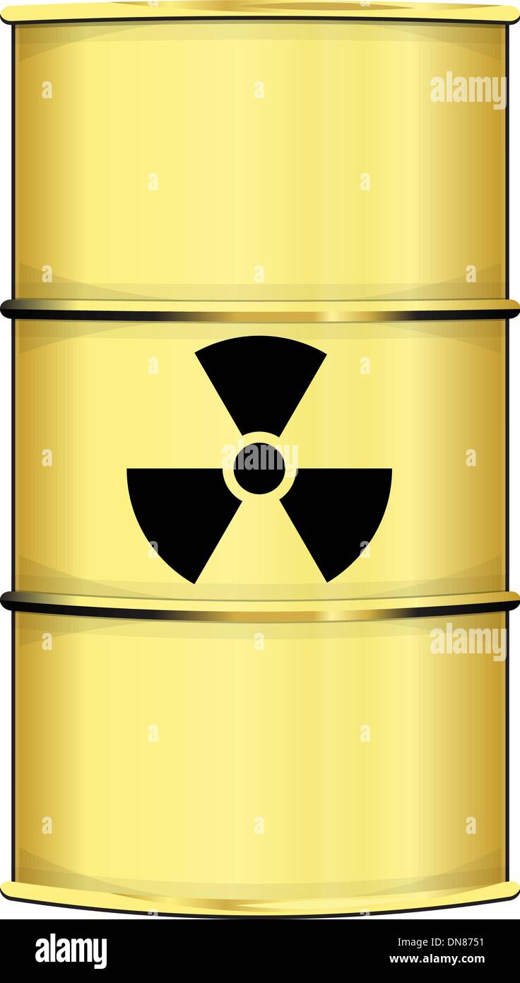 Barrel with radiation sign - Stock Image