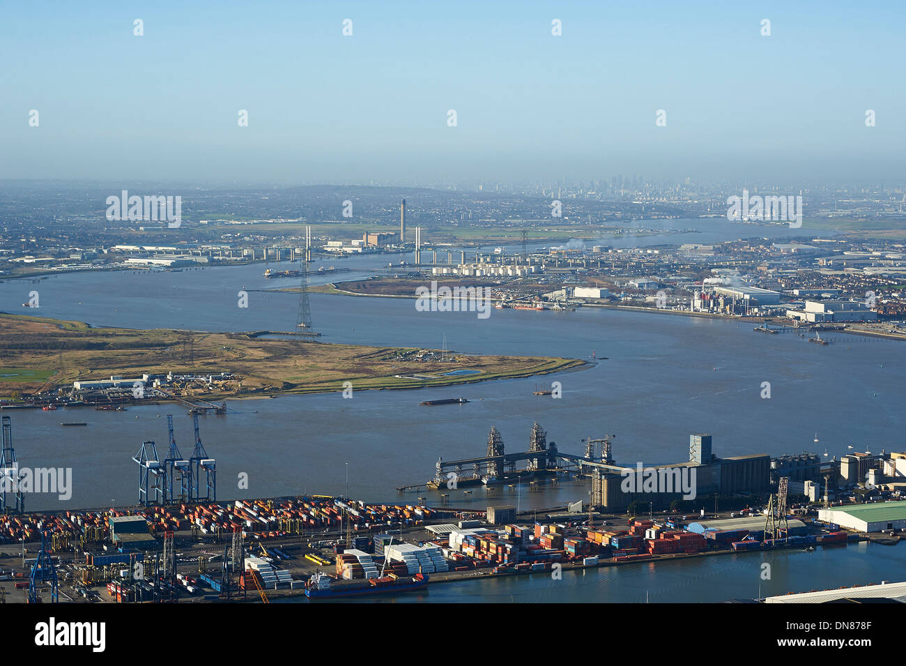 Looking up the river Thames from Tilbury towards London, South East England, UK Stock Photo