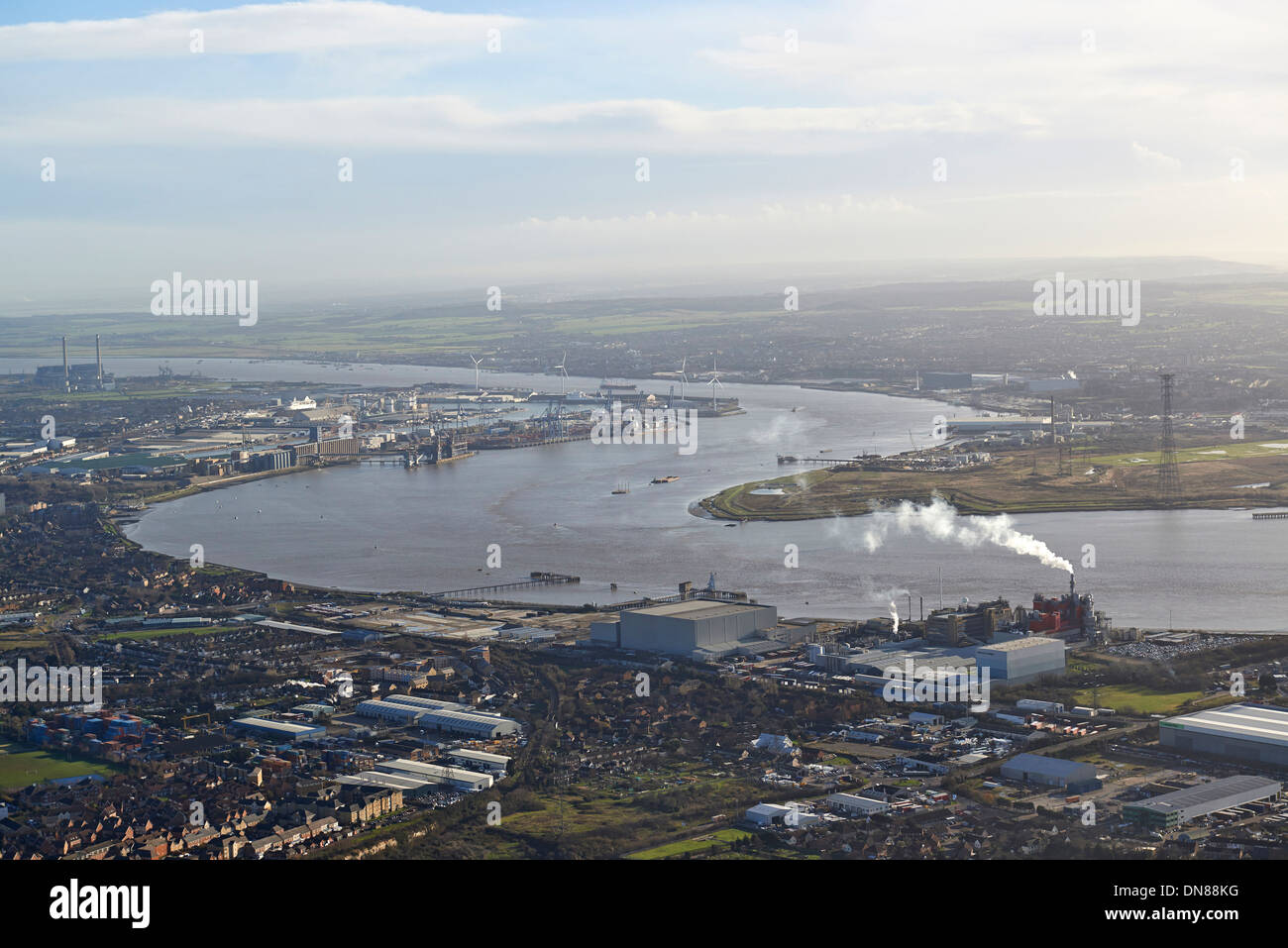Looking down the river Thames from Dartford towards Tilbury, South East England, UK - Stock Image