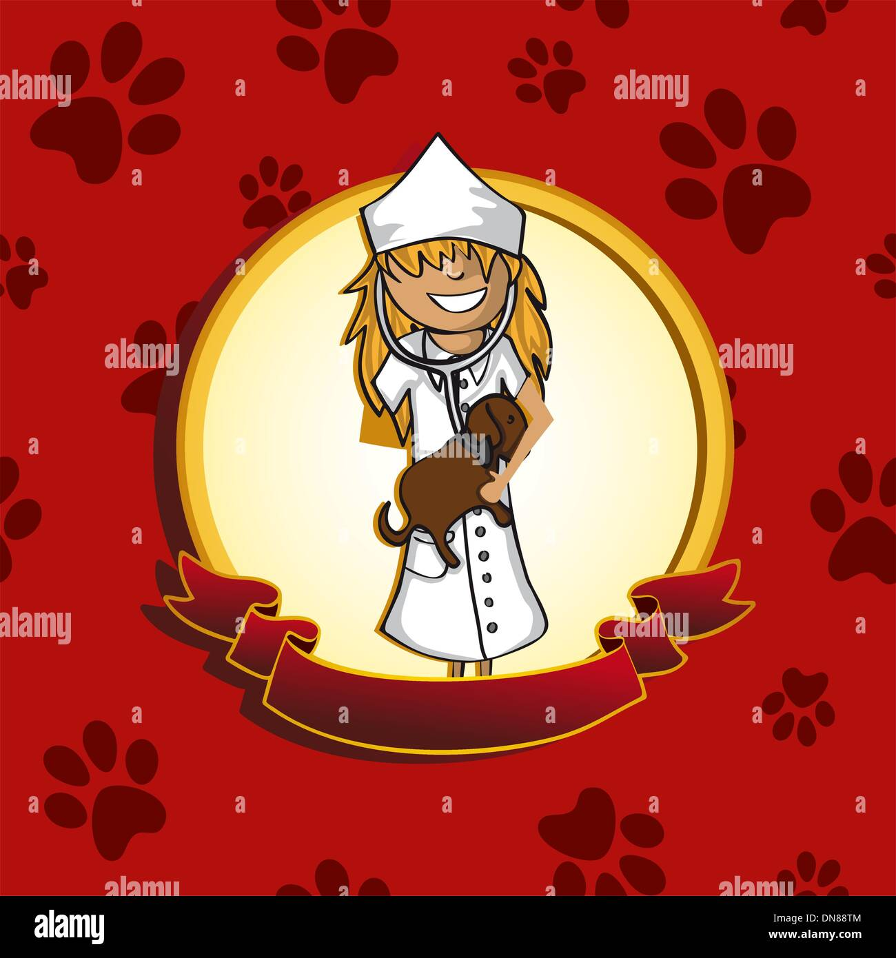 Service vet doctor girl cartoon label icon. - Stock Vector