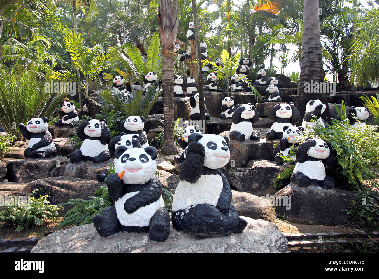 Many Of The Panda Statue In Park.   Stock Image