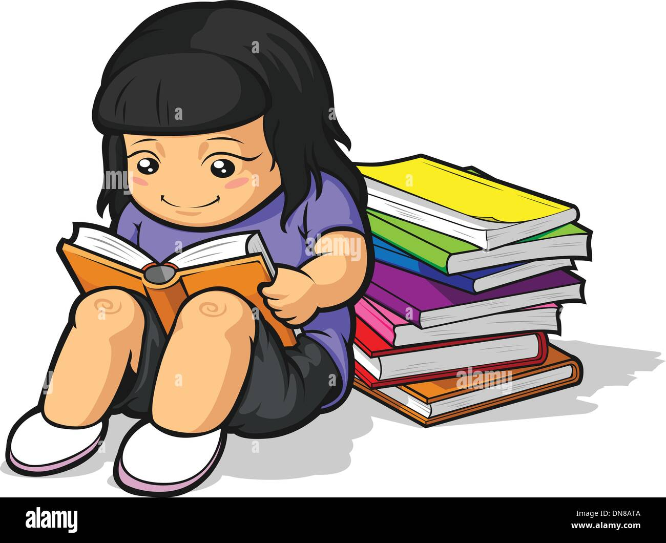 Cartoon Of Girl Student Studying & Reading Book Stock