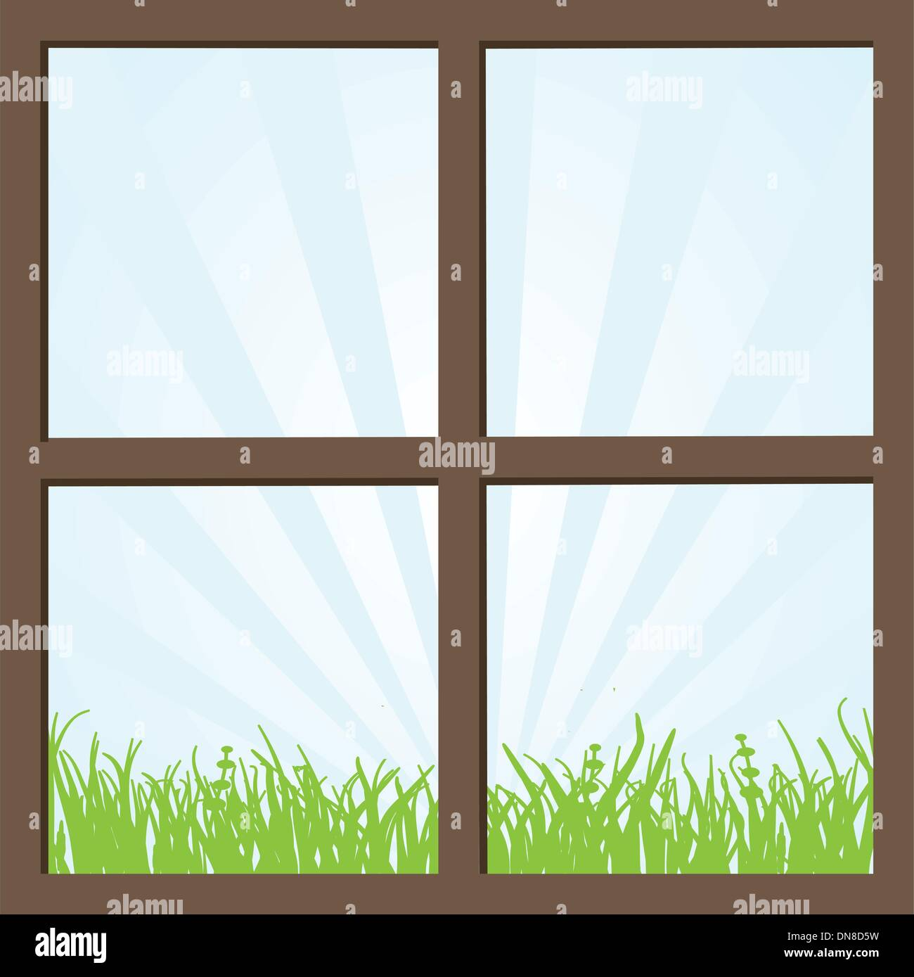 Summer field and mountains seen through the window. - Stock Vector