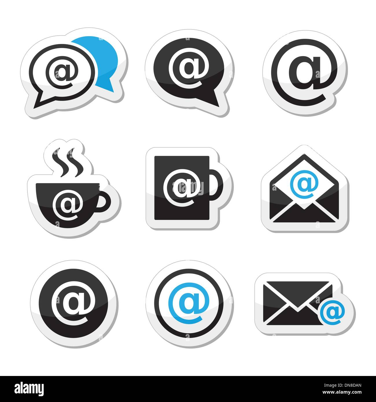 Email, internet cafe, wifi vector icons set - Stock Image