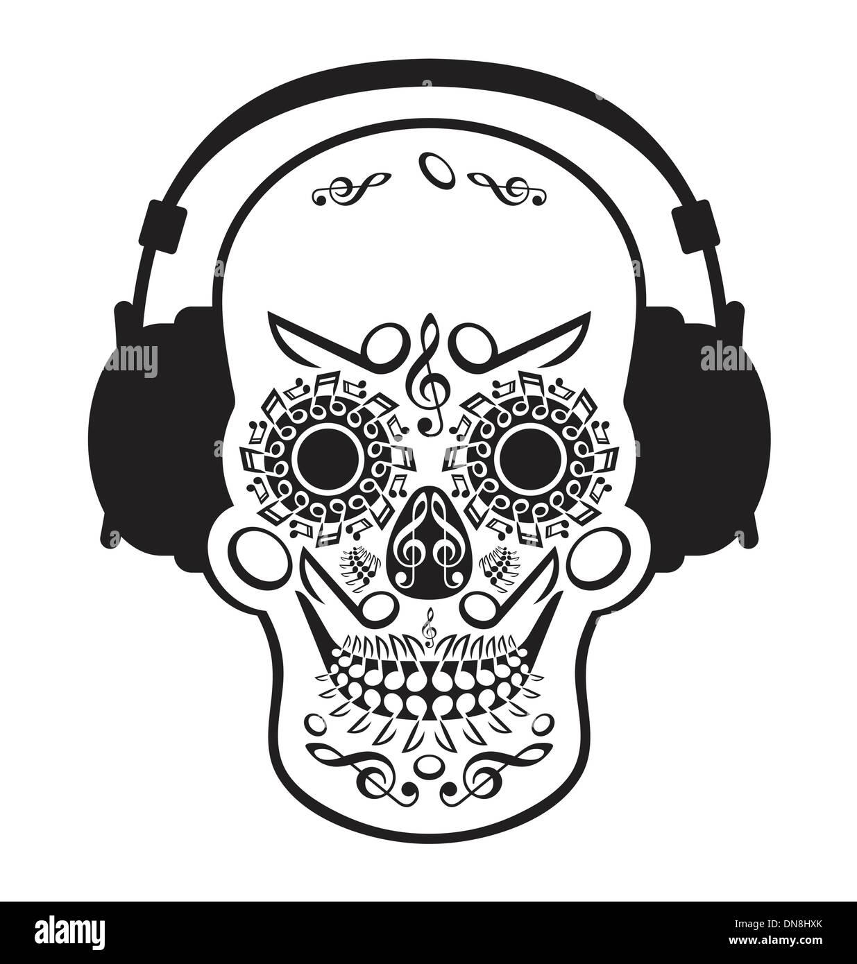 Music Skull - Stock Image
