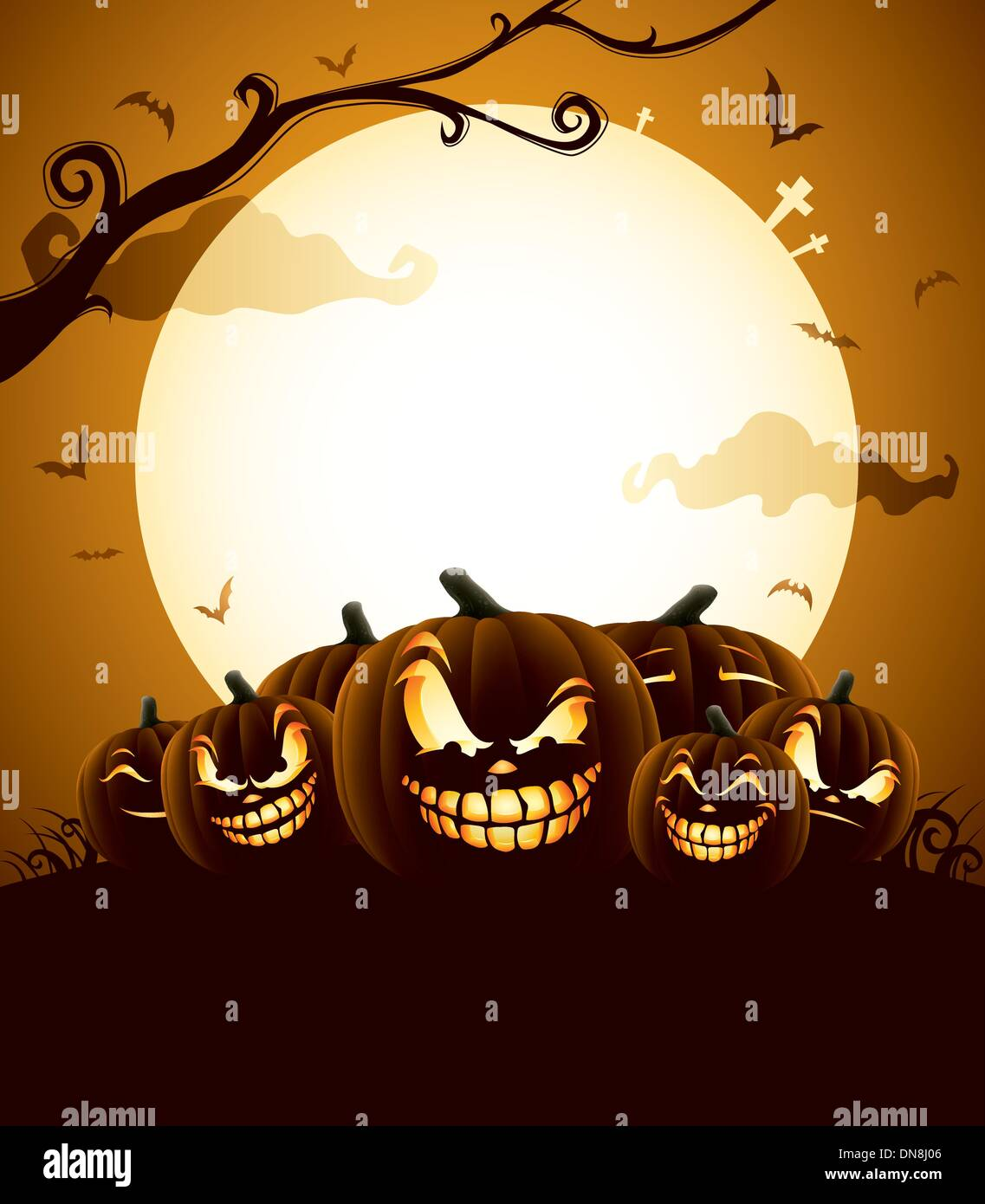 Halloween Pumpkins under the moonlight - Stock Vector