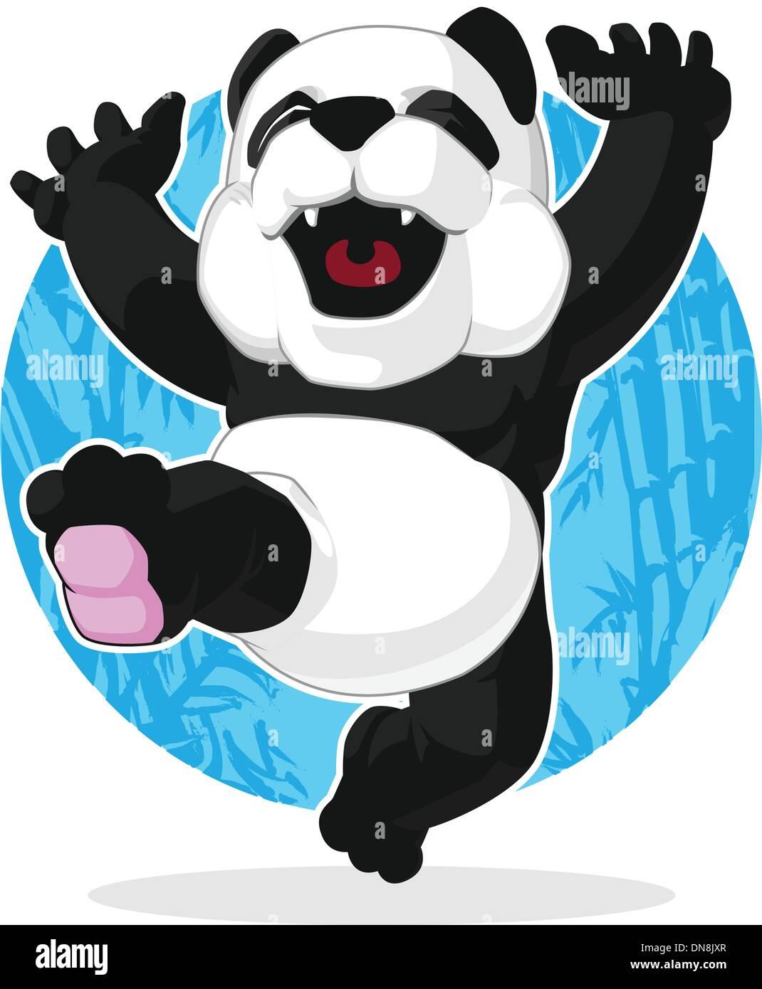 Panda Jumping in Excitement - Stock Vector