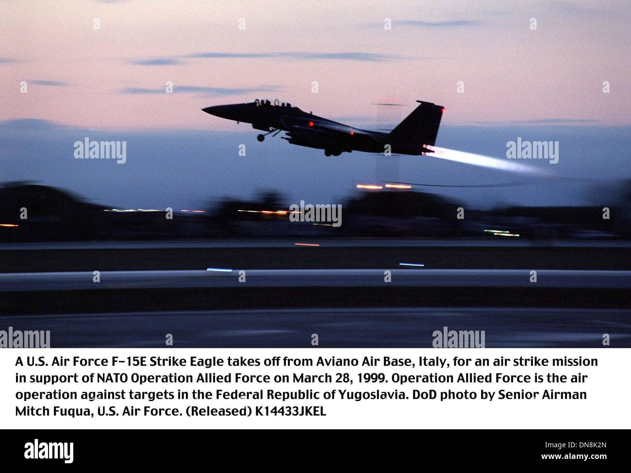 Mar. 1, 1999 - Aviano Air Base, Pordenone, Italy - K14433JKEL       990328-F-4728F-015..A U.S. Air Force F-15E Strike Eagle takes off from Aviano Air Base, Italy, for an air strike mission in support of NATO Operation Allied Force on March 28, 1999.  Operation Allied Force is the air operation against targets in the Federal Republic of Yugoslavia.  DoD  Senior Airman Mitch Fuqua, U - Stock Image