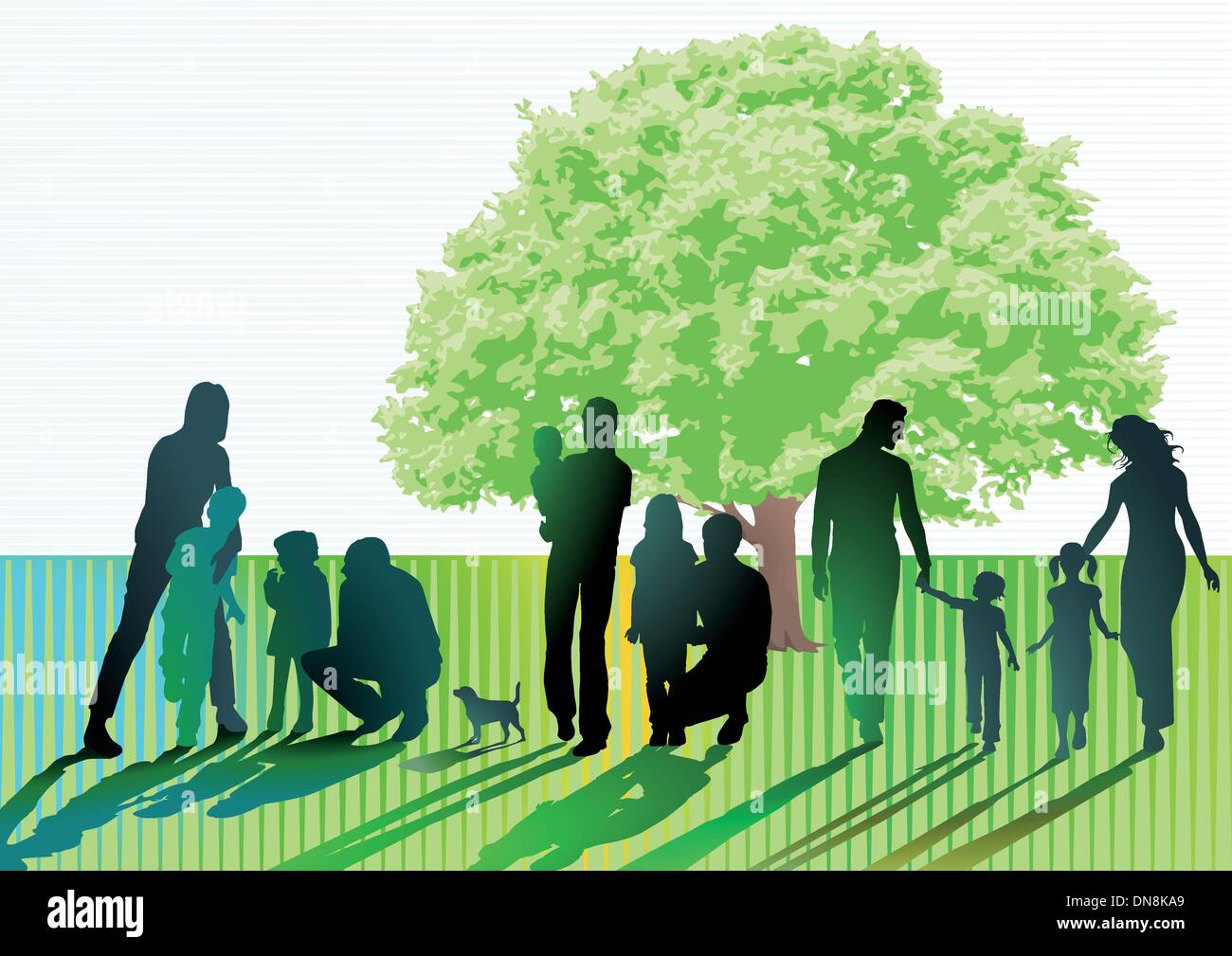 Parents and children on the meadow - Stock Vector
