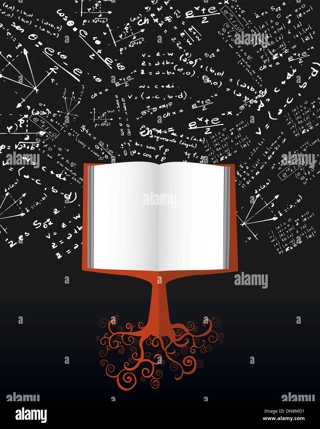 Education back to school book tree over chalkboard. Stock Vector