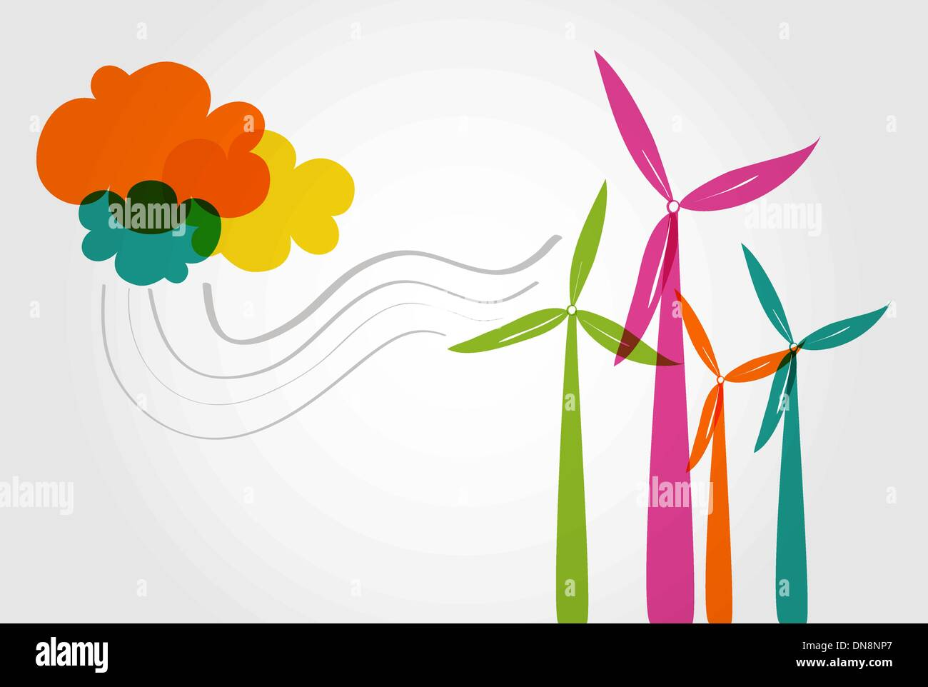 Colorful wind mills and clouds. - Stock Vector