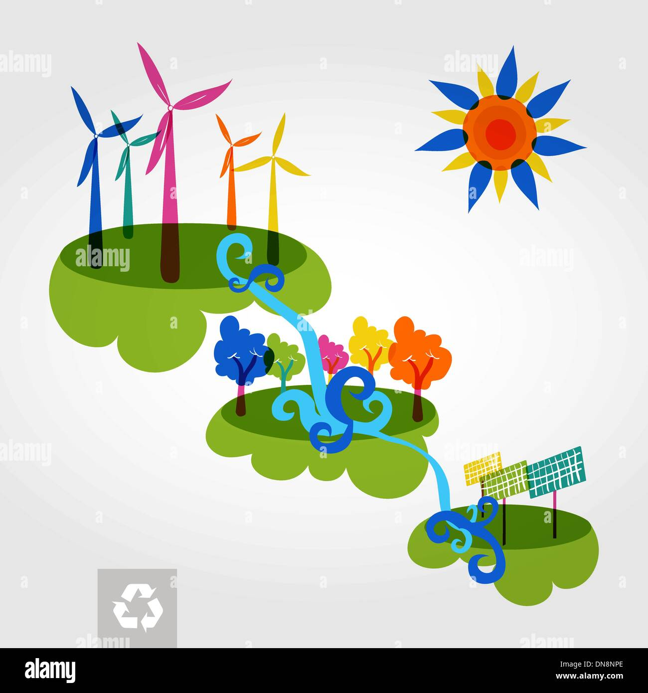 Go green city wind mills, trees, solar panels and curly waterfal - Stock Vector